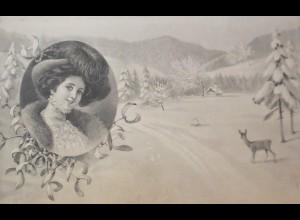 Neujahr, Frauen, Mode, Rehe, Misteln, 1910, Munk Vienne ♥ (21872)