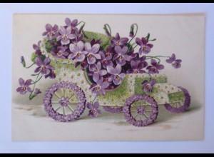 """""""Auto, Oldtimer, Veilchen, Blumen"""" 1909, Prägekarte ♥"""
