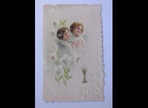 Kommunion, Engel, 1900, Klappkarte ♥ (58020)