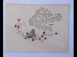 """""""Verlobung, Blumen, Meise"""" 1900, Prägekarte ♥"""