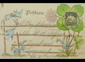 """Blumen, Kleeblatt, Vogel"" 1902, Goldprägekarte ♥"