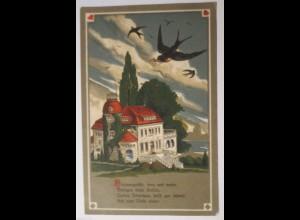 """Vogel, Haus, Schwalben, Herz"" 1917, Feldpost ♥ (29159)"