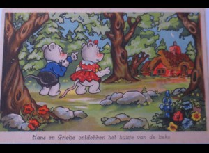 Hänsel, Gretel, Mäuse, 1930, Vermenschlichte Tiere, Steen ♥ (22895)