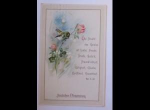Pfingsten, Vogel, Bibel, Spruch, 1916 ♥ (41891)