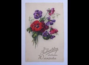 Geburtstag, Blumen, Stiefmütterchen, 1934 ♥ (51258)