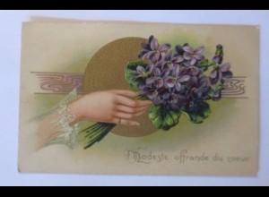 Geburtstag, Gratulieren, Briefe, Tauben, Blumen, 1908, Prägekarte ♥ (51229)