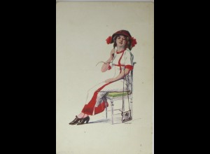 """""""Scherzkarte, Telefon"""" 1910, sig. Krunes ♥"""