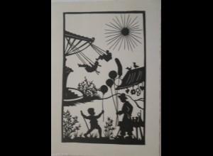 Kinder, Mode, Luftballon, Schützenfest, 1950, Scherenschnitt ♥ (16549)