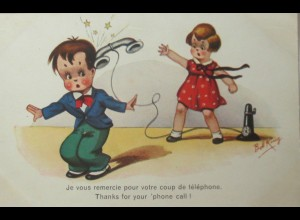 """Telefon, Kinder"" 1920, sig. Bob King ♥"