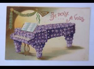 Geburtstag, Klavier, Veilchen, Noten, 1913, Prägekarte ♥ (51218)