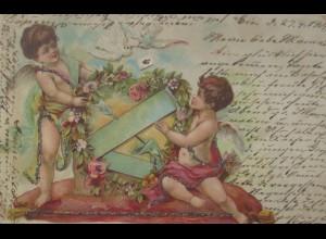 Valentinstag, Amor, Engel, Tauben, Pfeil,1901, Glitzerkarte ♥ (20497)