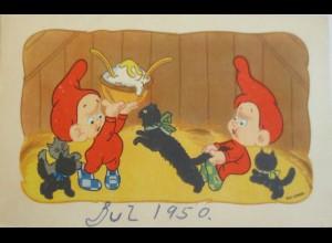 Zwerg, Katzen, Brei, 1950, Elly Gross ♥ (4469)
