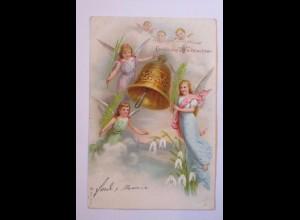 Weihnachten, Engel, Glocke, Schneeglöckchen, 1899 ♥ (38469)