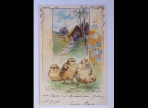 Ostern, Küken, Landschaft, Wassermühle, 1901 ♥ (63050)