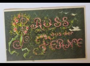 """""""Sprüche, Spruch, Tauben, Gruß aus der Ferne"""" 1907, Prägekarte ♥"""