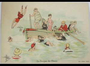 Künstlerkarte, Bademode, Baden, Boot, 1900 ♥ (11007)