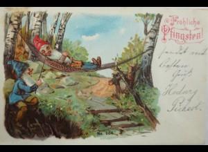 Pfingsten, Zwerg, Hängematte, Rauchen, 1901 ♥ (6454)