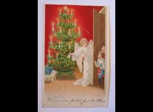 Weihnachten, Engel, Weihnachtsbaum, Bescherung, Spielzeug; 1901 ♥ (38485)