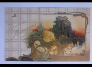 Neujahr, Landschaft, Blätter, Bäume, Jugendstil, 1909, Prägekarte ♥ (56399)