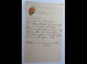 Altes Briefpapier mit Oblate aus dem Jahr 1890 ♥ (33K)