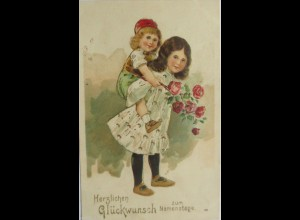 Namenstag, Kinder, Mode, Blumen, 1912, Goldprägekarte ♥ (8863)