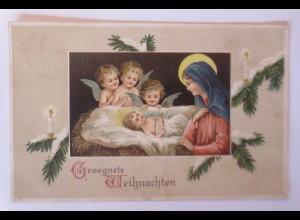 Weihnachten, Engel, Heilige, Kerze, Tannenzweig, 1907, Prägekarte ♥ (67164)