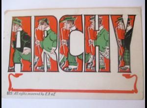 Scherzkarte, Männer, Stock, Archy, USA 1907