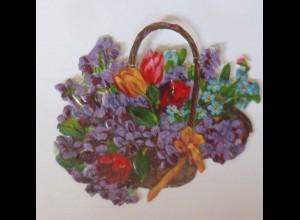 Oblaten, Blumen, Korb, 1900, 8 cm x 5,5 cm ♥ (1882)
