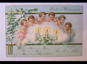 Weihnachten, Engel, Wolke, Kerzen, 1899 ♥ (38418)