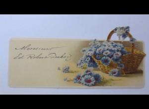 Tischkärtchen, Blumen, 1900, 12 cm x 5,5 cm ♥ (30689)