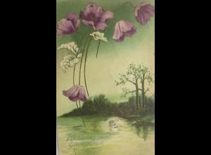 Namenstag, Schwan, Blumen, Landschaft, 1907, Prägekarte ♥ (7114)
