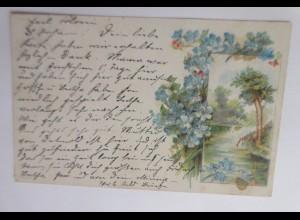 Blumen, Landschaft, Vergissmeinnicht, 1901, Glitzerperlchen ♥