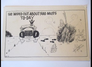 Scherzkarte, Auto, ...about 500 miles, 1948