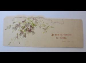 Glückwunschkärtchen, Blumen, Bibelspruch, 1899, 13 cm x 5 cm ♥ (733)