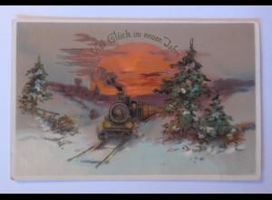 Neujahr, Lokomotive, Abendrot, 1913, Golddruck ♥ (23464)