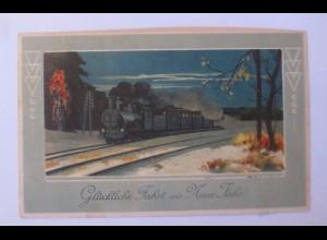 Neujahr, Lokomotive, Landschaft, 1913, Prägekarte ♥ (31155)