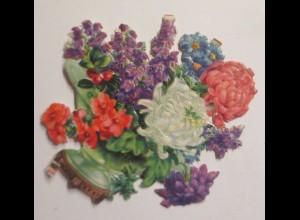 Oblaten, Vase, Blumen, 1900, 8 cm x 8 cm ♥ (49231)