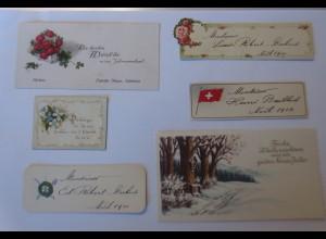 6. Kleine Glückwunschkärtchen, Tischkärtchen, 1900-1914 ♥ (63841)