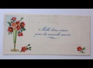Glückwunschkärtchen, Vase, Blumen, 1900, 10,5 cm x 5 cm ♥ (10620)