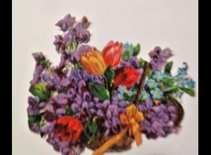 Oblaten, Blumen, 1900, 7 cm x 6 cm ♥ (6256)