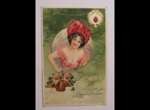"""""""Neujahr, Frauen, Mode, Schwein, Marienkäfer"""" 1901, Prägekarte ♥ (40324)"""