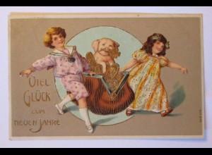 """""""Neujahr, Kinder, Geldbeutel, Schwein, Münzen"""" 1906, Prägekarte ♥ (39762)"""