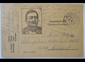 Österreich Ungarn, Kaiser Karl, Feldpost 1917 nach Budapest