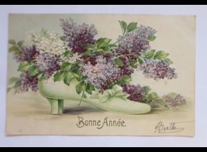 Neujahr, Schuh, Flieder; 1907, Prägekarte ♥ (51150)