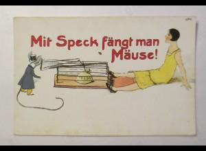 Scherzkarte, Frauen, Mode, Maus, Speck, Münzen, 1930 ♥ (19310)