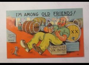 Scherzkarte, Maus, Männer, Flasche, Fass, 1930 ♥ (21328)