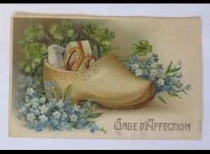 Neujahr, Schuh, Hufeisen, Kleeblatt, 1909, Prägekarte ♥ (51143)