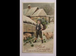 """""""Neujahr, Kinder, Schwein, Kleeblatt"""" 1912, Prägekarte ♥ (40536)"""