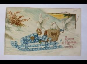 Neujahr, Schlitten, Tauben, Vergissmeinnicht, 1905, Prägekarte ♥ (51151)