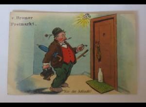 Scherzkarte, Männer, Betrunken, Schlüssel, Tür, 1931 ♥